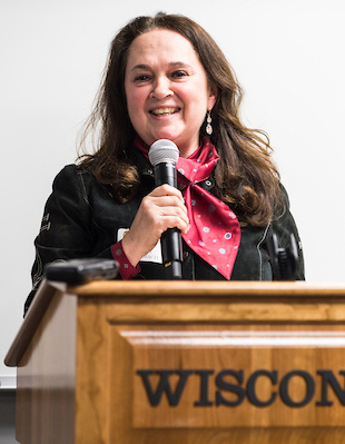Professor Emily Auerbach speaks at an event